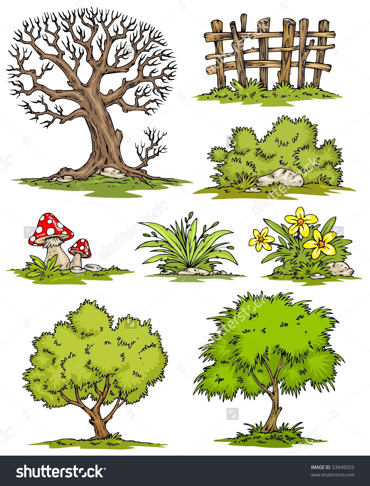 Cartoon Trees Flowers Bushesclipart Color Stock Vector 53049325.