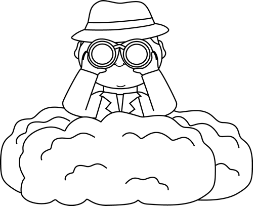 Black and White Detective in Bushes Clip Art.