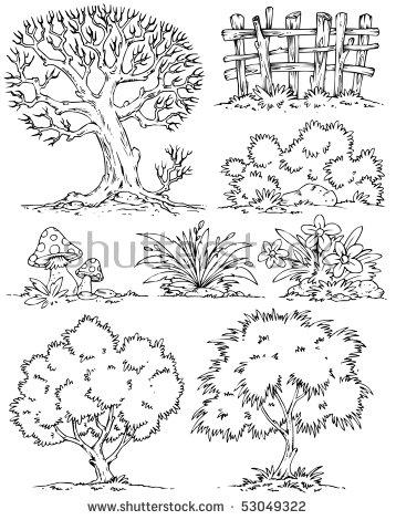 Cartoon Trees Flowers Bushesclipart Color Stock Vector 53049325.