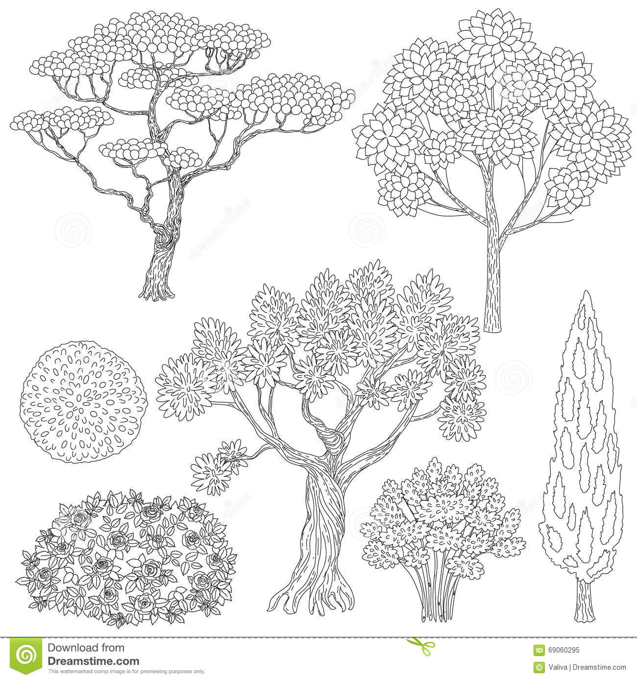 Black And White Outlines Trees And Bushes. Stock Vector.