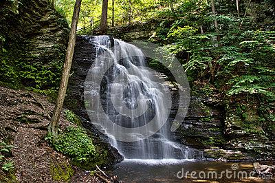 Bushkill Falls In The Pensylvania Pocono Mountains Stock Photo.