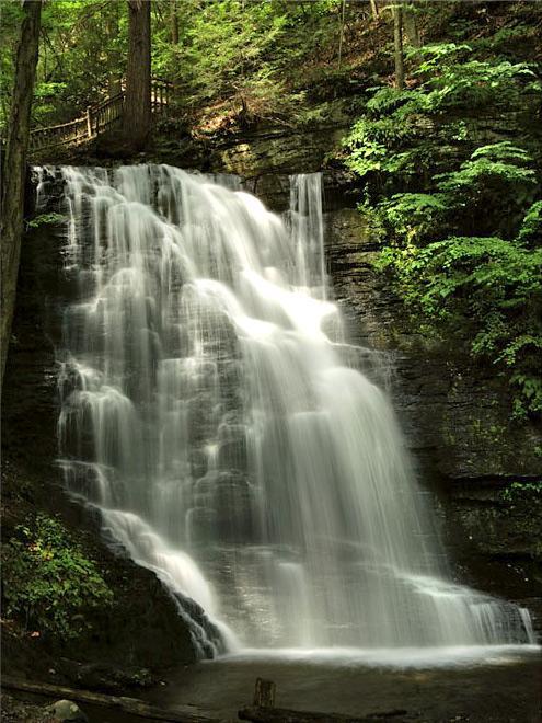 Hiking at Bushkill Falls.