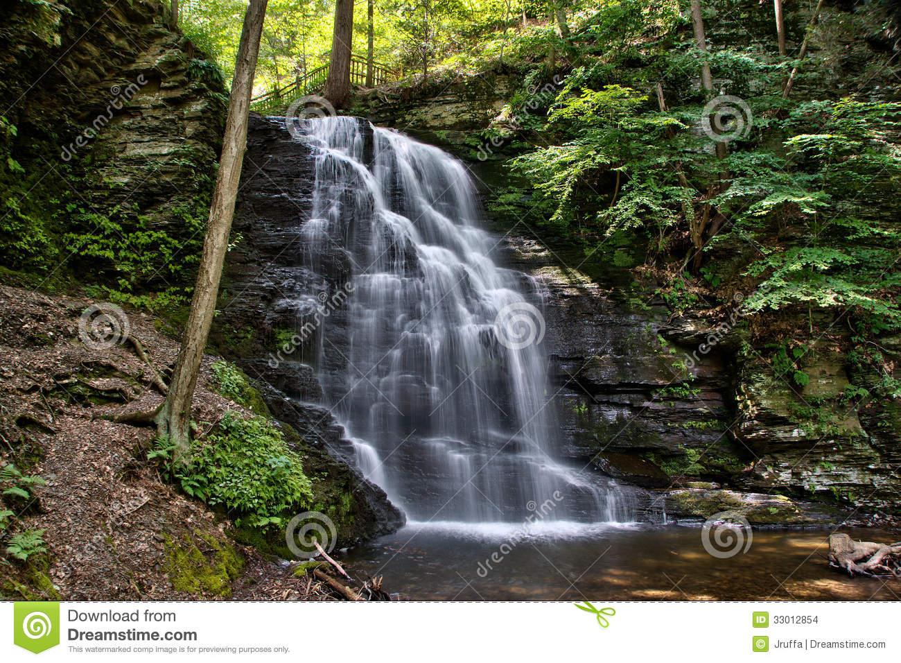 Bushkill Falls In The Pensylvania Pocono Mountains Stock Images.