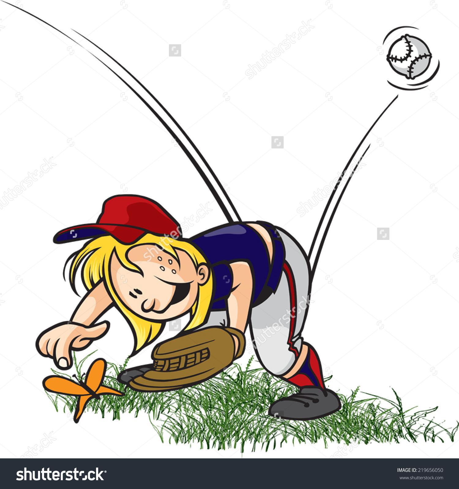 Little Leaguer Outfielder Clip Art.