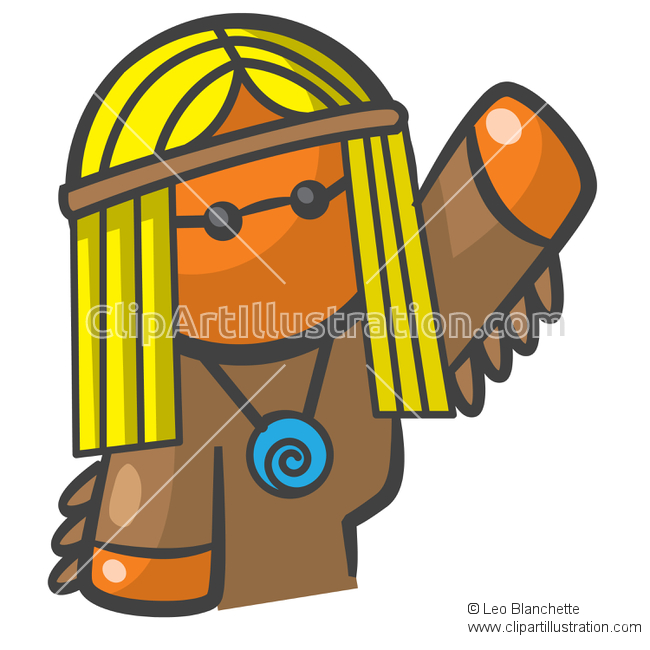 ClipArt Illustration Orange Man Playing Baseball.
