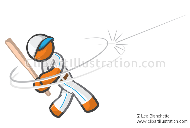 ClipArt Illustration Orange Man Playing Baseball.