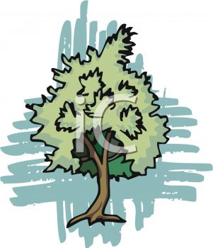 Picture of a Green Bushy Tree In a Vector Clip Art Illustration.