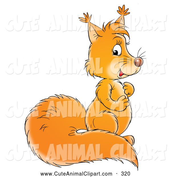 Clip Art of a Smiling Cute Squirrel with a Bushy Tail, Rubbing Its.