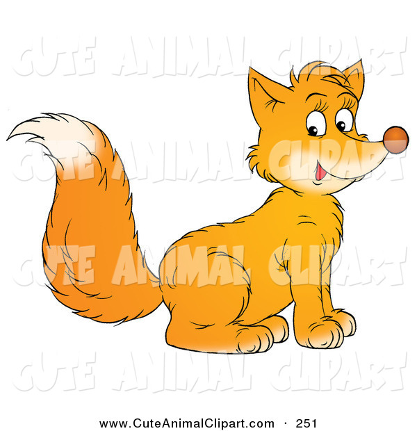 Clip Art of a Cute Bushy Tailed Orange Fox Sitting and Facing to.