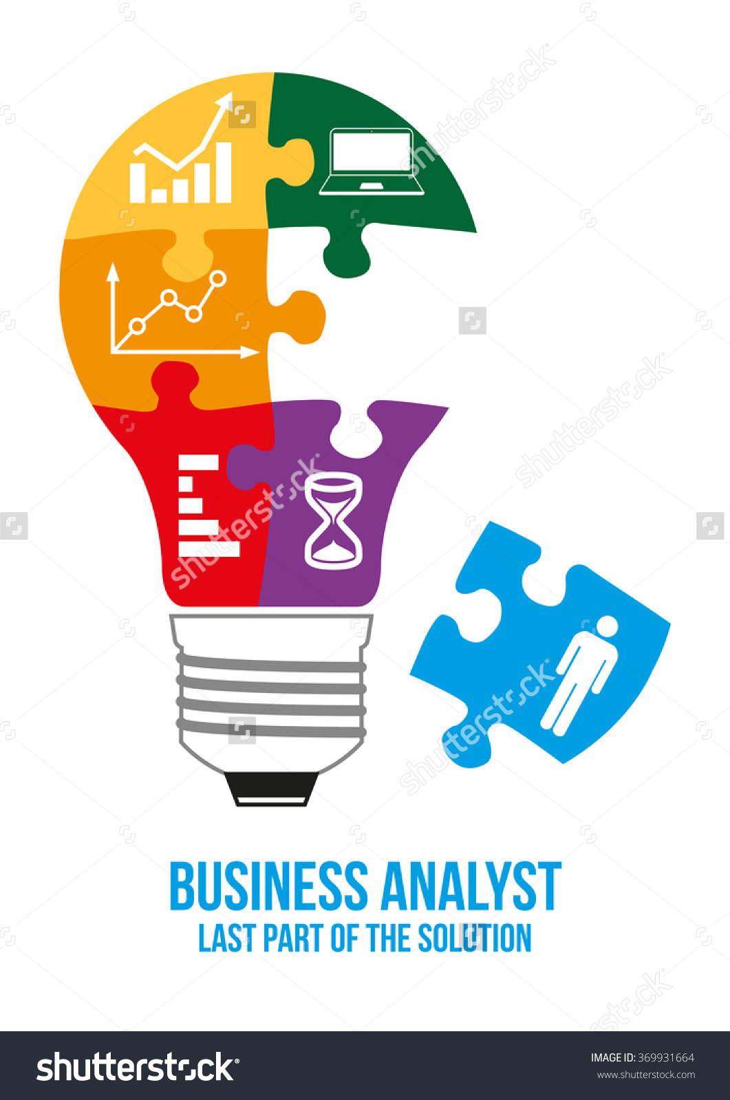 Business Analyst Design Concept Light Bulb Stock Vector 369931664.