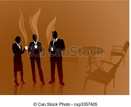 Clipart Vector of business team on coffee break internet.