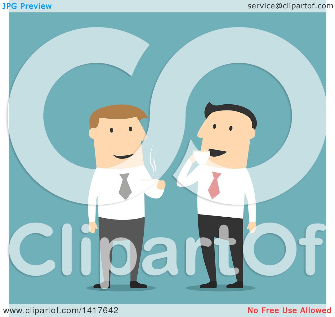 Clipart of Flat Design Caucasian Business Men Talking on Coffee.