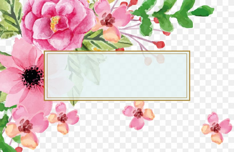 Euclidean Vector Flower Watercolor Painting Visiting Card.