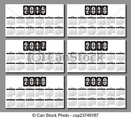 Vector of calendar grid 2015, 2016 2020 for business card.