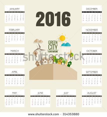 2016 Calendar, Modern Business Card Template With Nature.