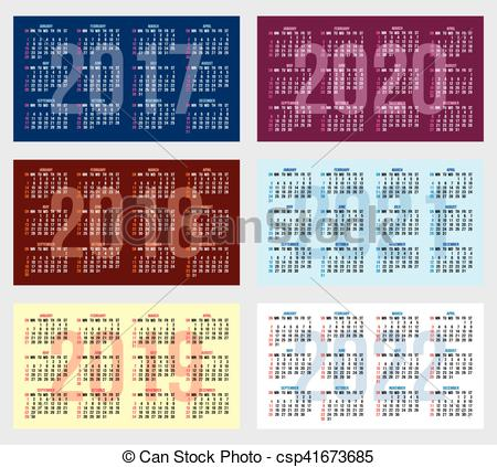Vector of vector set of calendar grid for years 2017.