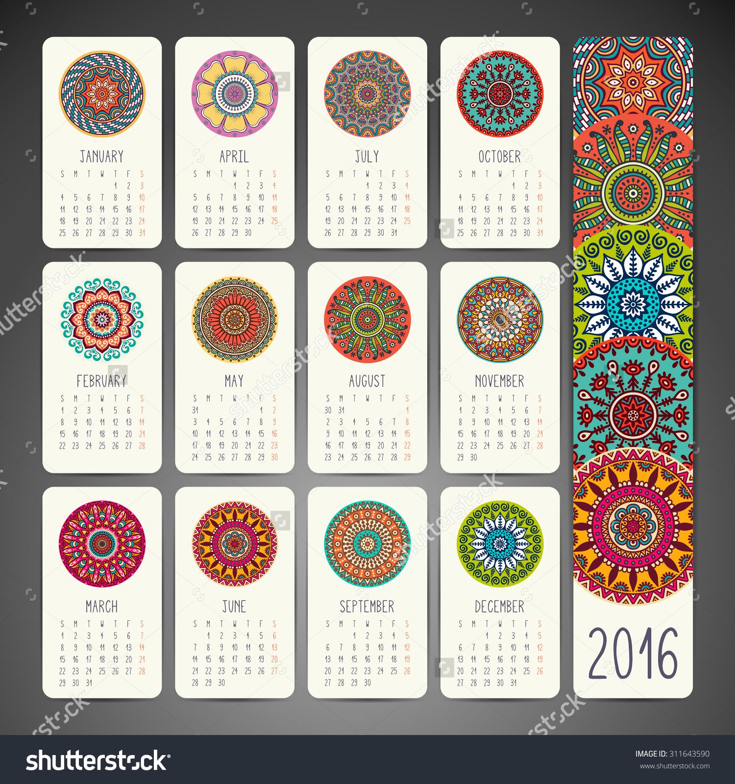 Calendar 2016. Vintage Decorative Elements. Ornamental Floral.