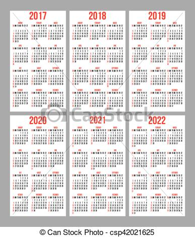 Vector Illustration of vector set of calendar grid for years 2017.