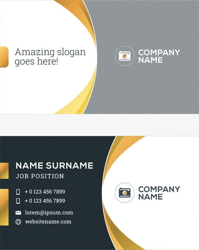 Vector Black And Yellow Business Card Curve, Business Card, Business.