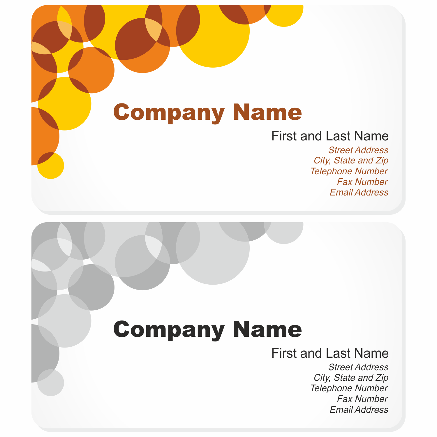 Vector for free use: Business Card with Bubbles.