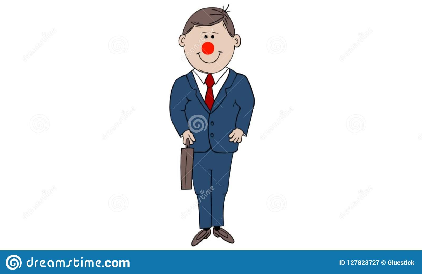 Cartoon Clipart Clown Business Man Stock Image.