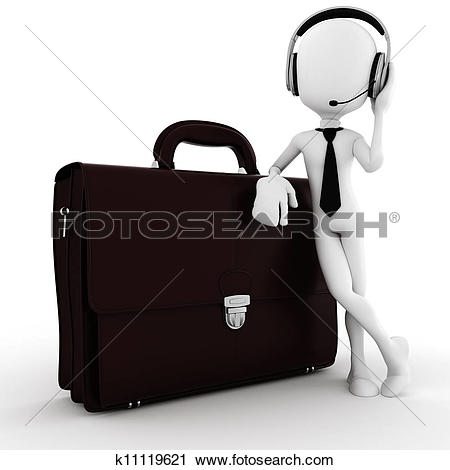 Clipart of 3d man, business man call center k11119621.