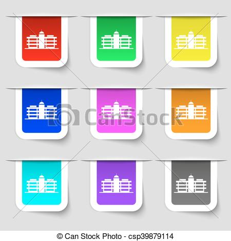 Vector Clip Art of Business center icon sign. Set of multicolored.