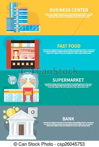 Clipart Vector of Business center, supermarket, bank, fast food.