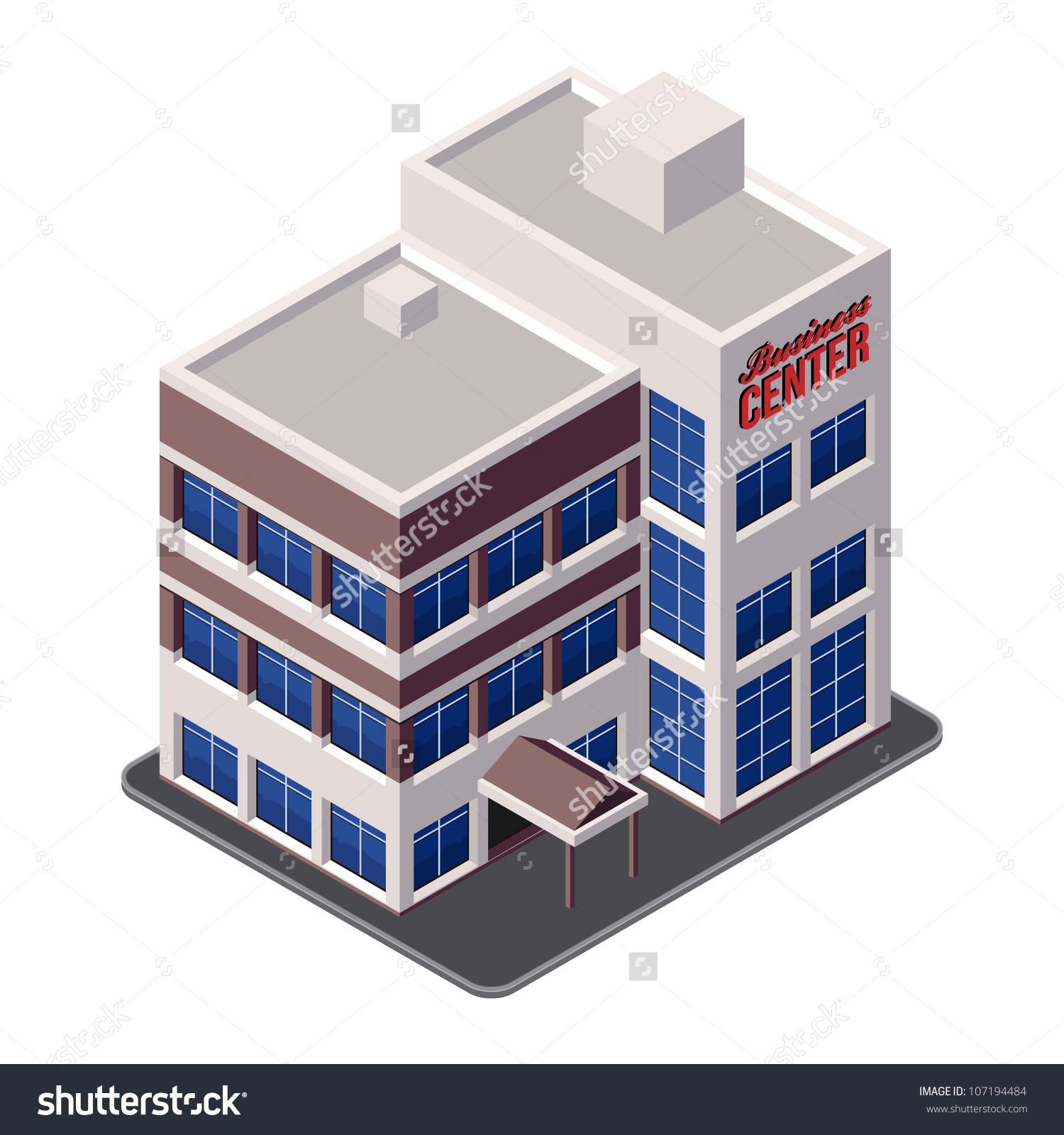 Business Center Building Office Real Estate Stock Vector 107194484.