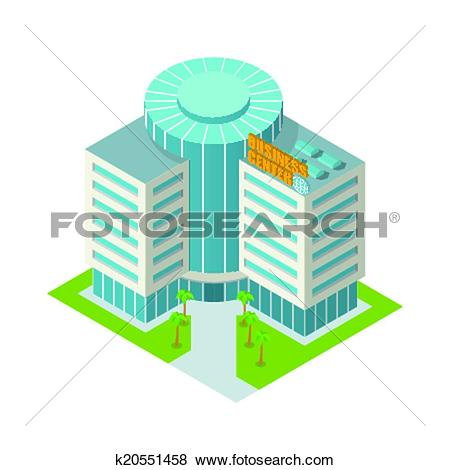 Clip Art of Business center building isometric k20551458.