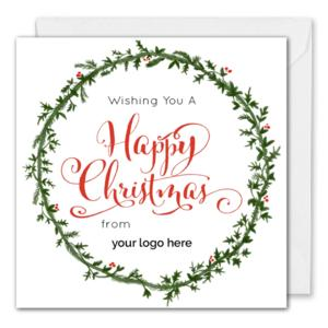 Painted Christmas Wreath Card.