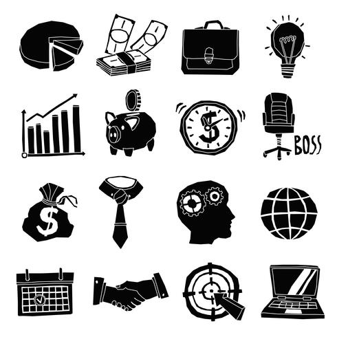 Business Icons Black And White Set.