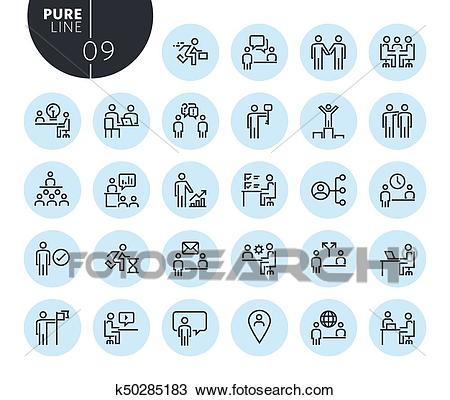 Collection of premium quality business and marketing line icons Clipart.