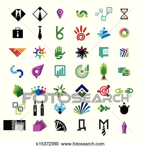 Collection of vector icons for business and finance Clipart.