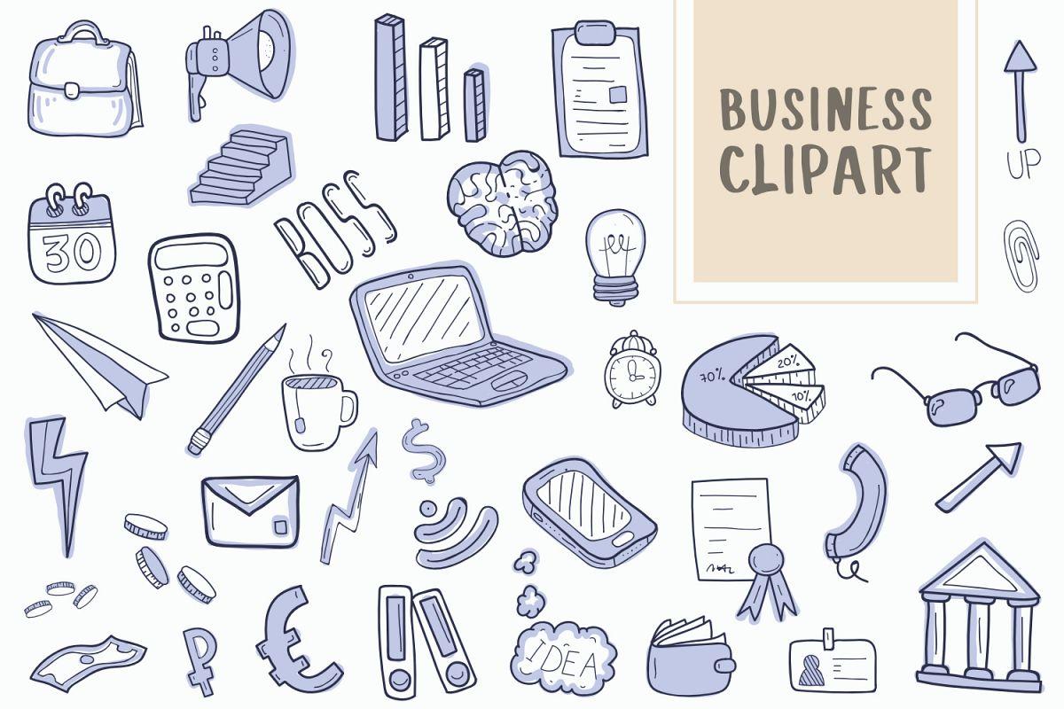 Business Doodle Clipart Collection Flat Set.