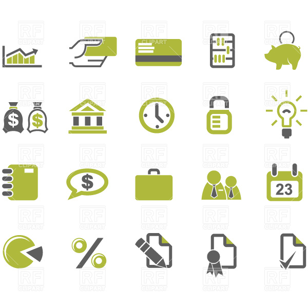 Banks and business icons set Stock Vector Image.