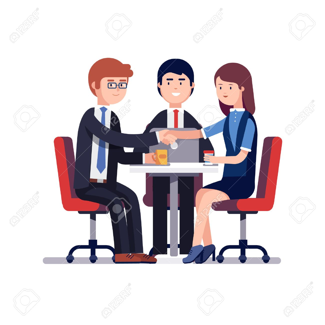 Businessman and woman handshake over round desk. Closing deal.
