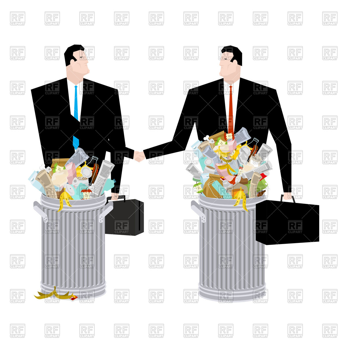 Businessman handshake in Trash can. Business deal of garbage. Tie and case.  rubbish Manager Stock Vector Image.