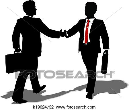 Business people meet to make deal Clipart.