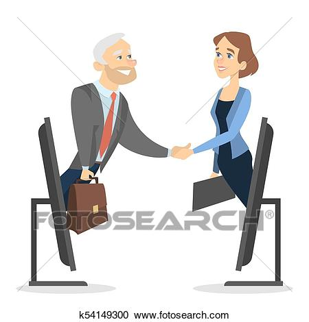 Business deal online. Clipart.