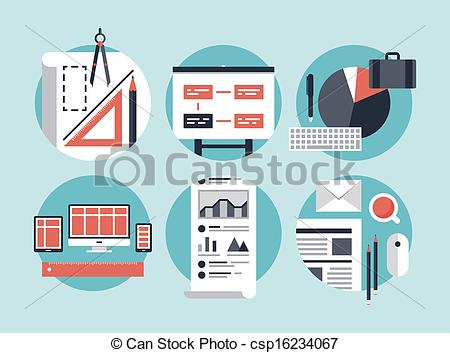 Clip Art Vector of Modern business development process.