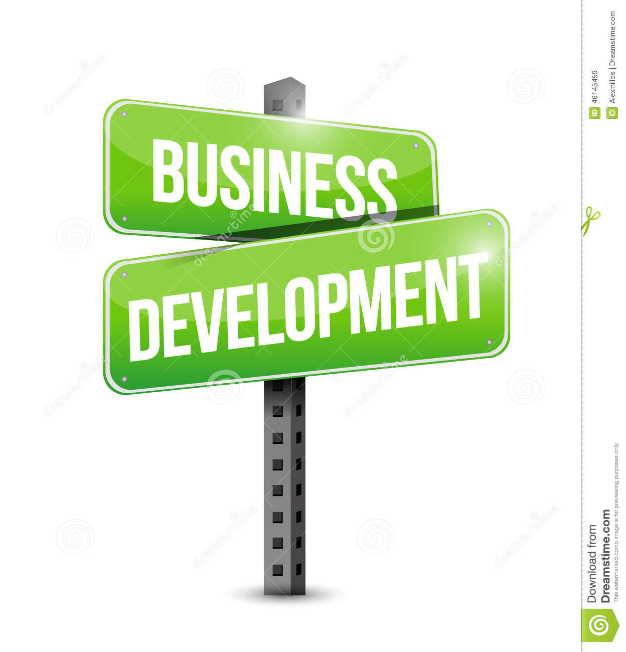 Business Development Road Sign Stock Illustration.