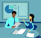 Stock Illustration of Two business people with a blueprint, having.