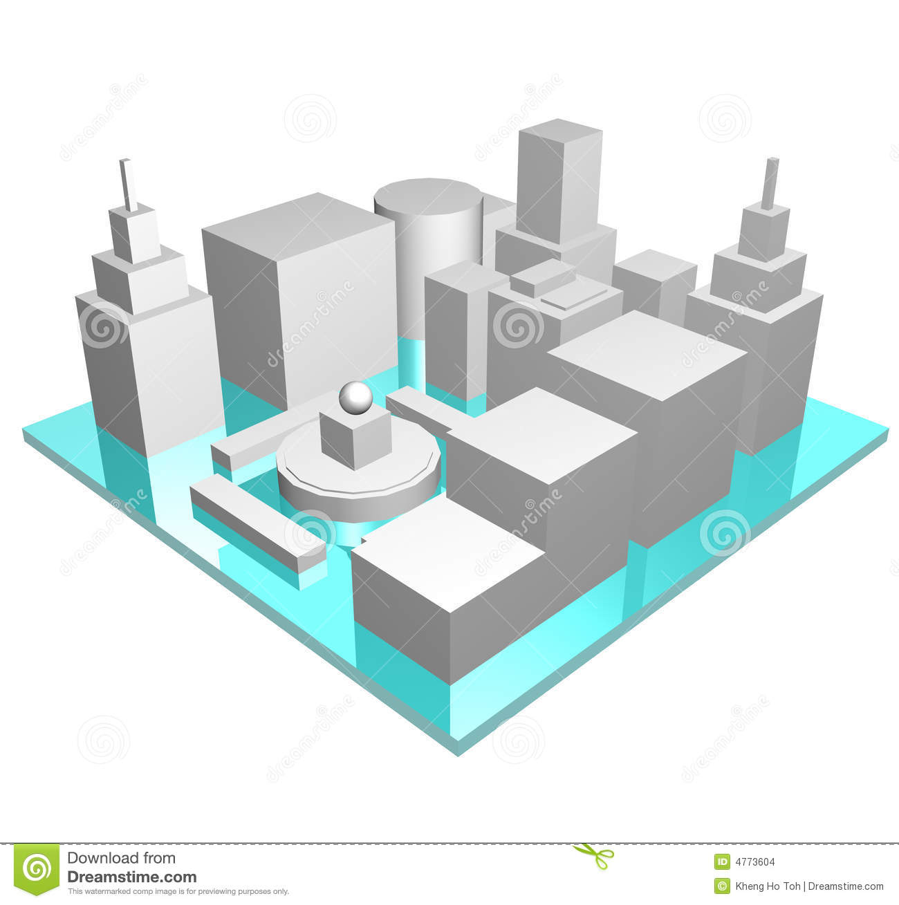 Central Business District In 3d Stock Images.
