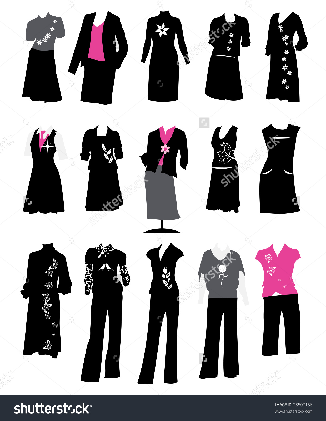Collection Womens Business Suits Office Style Stock Vector.