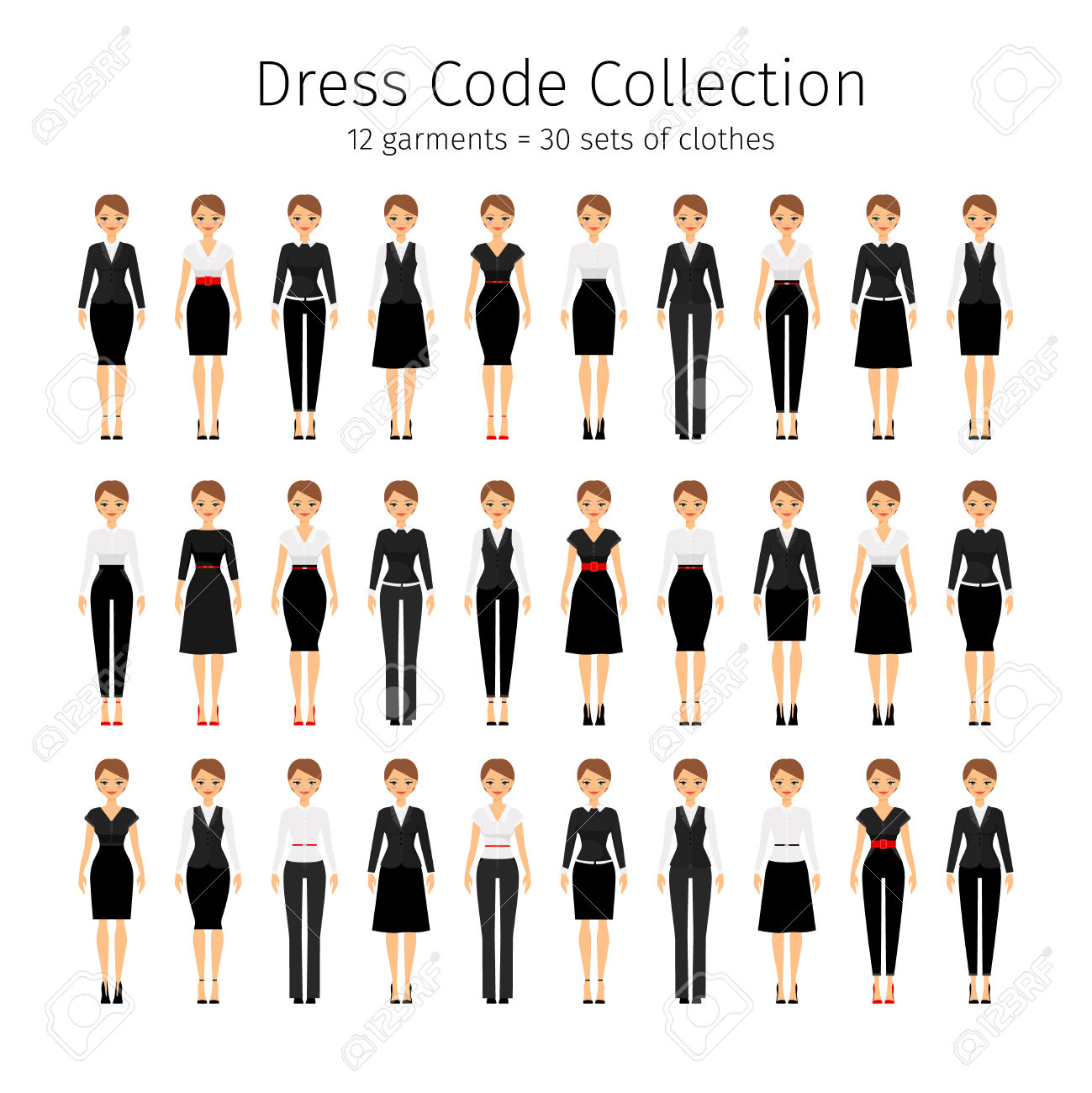 Business Woman Collection. Women Dress Code Vector Set Royalty.
