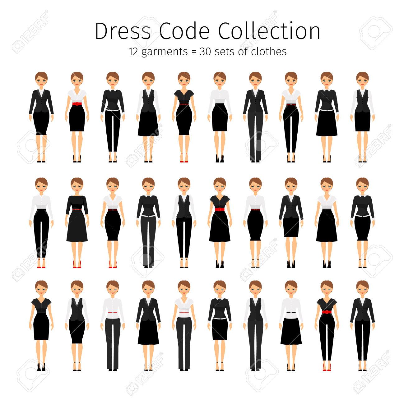 Business Woman Collection. Women Dress Code Vector Set Royalty.
