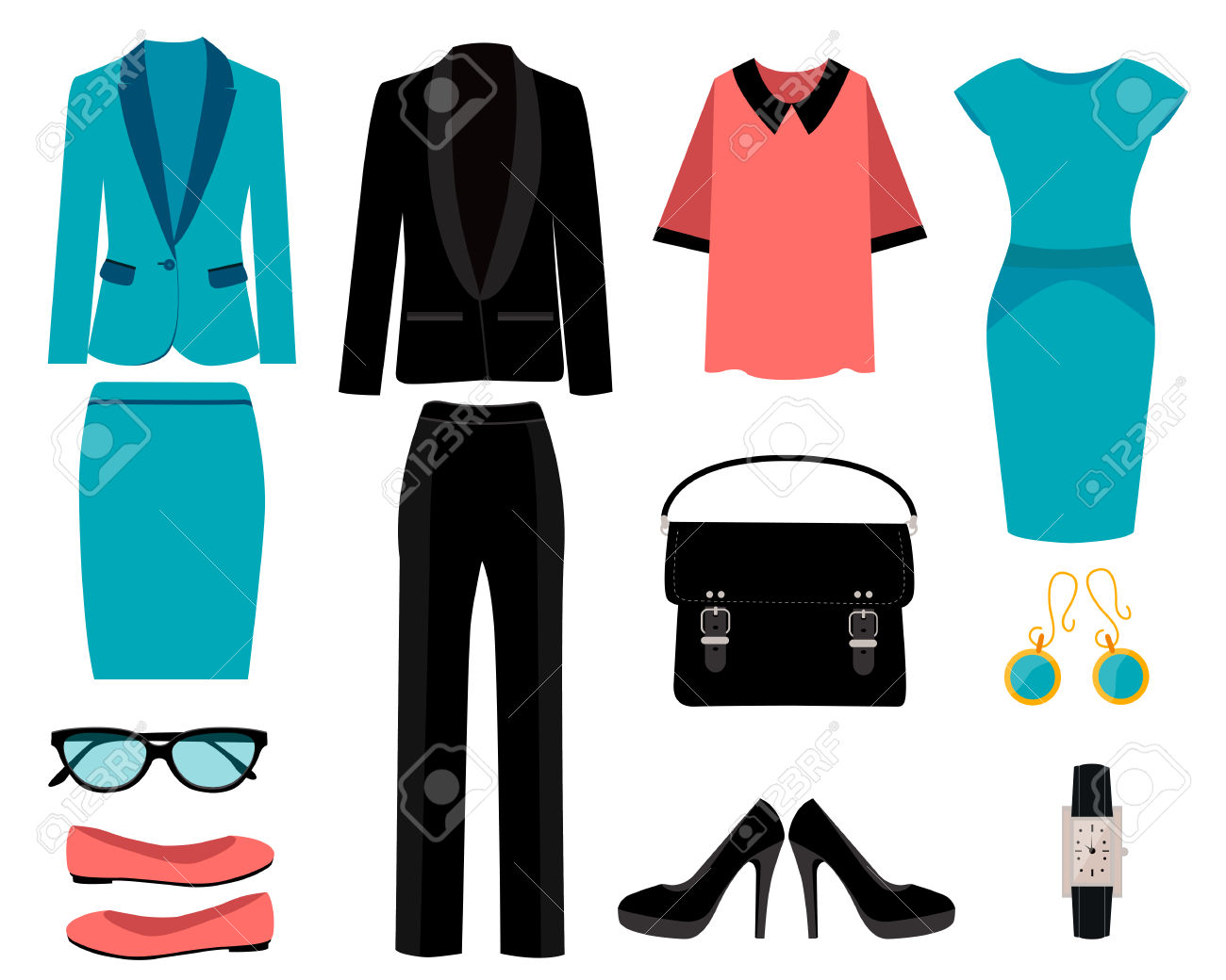 Set Of Business Clothes For Women. Vector Illustration Royalty.
