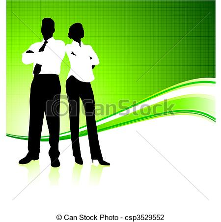 Vector Illustration of Business team on green environment.