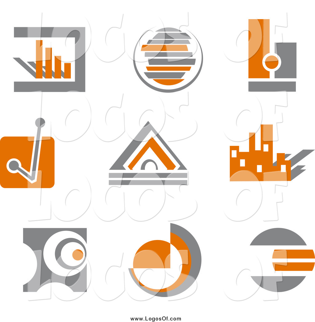 Vector Clipart of Orange and Gray Business Finance Charts and.
